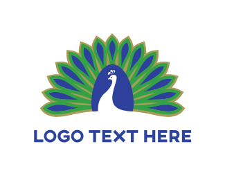 Massage - Blue & Green Peacock logo design