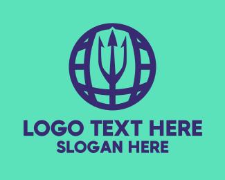 Poseidon - Blue Trident Globe logo design