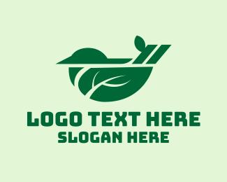 Robin - Green Nature Bird  logo design