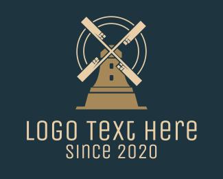 Windmill - Brown Windmill House logo design