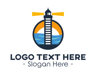 Coastguard - Coastal Lighthouse Ladder logo design