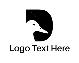 Black Bird - Duck & Letter D logo design