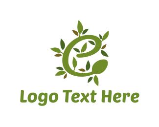 Vegan - Olive Letter E logo design