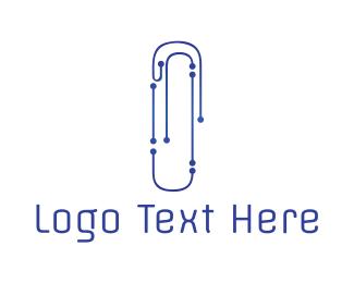 Paper Clip - Tech Clip logo design