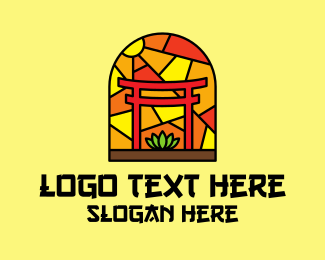 Asia - Stained Glass Shinto Shrine logo design