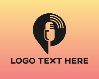 Announcer - Vintage Mic Podcast logo design