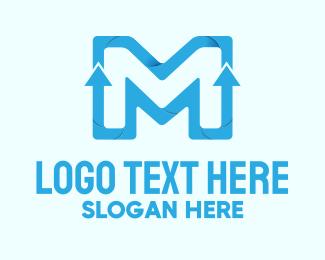 Going Up - 3D Growth Letter M logo design