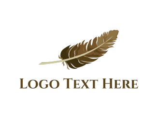 Quill - Brown Feather logo design