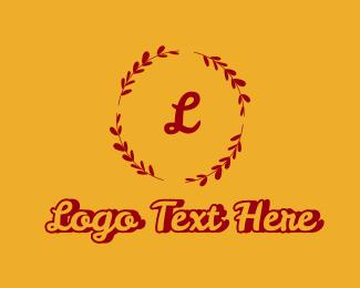 Vintage - Red Floral Wreath Letter logo design