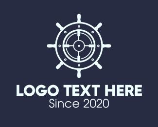 Voyage - Maritime Steering Wheel Crosshair logo design