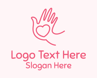 Dating - Pink Caring Hand logo design