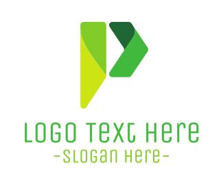 Green Arrow - Modern P Ribbon logo design