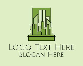 Architect - Green City Skyline logo design
