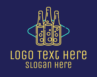 Neon Lights - Neon Beer Bar Sign logo design