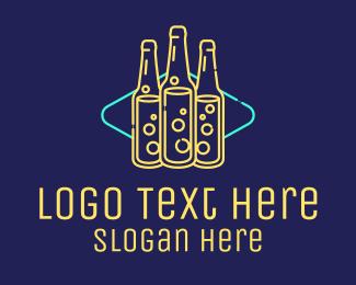 Bar - Neon Beer Bar Sign logo design
