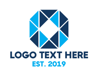 Blue Triangle - Blue Mosaic O logo design