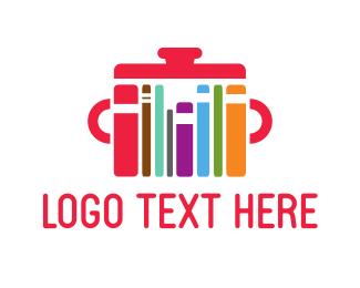 Pot - Colorful Cookbooks logo design