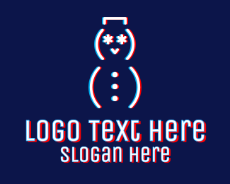 Glitchy - Glitchy Snowman Outline logo design