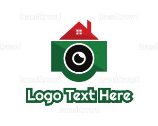 Binoculars - Green Camera House logo design