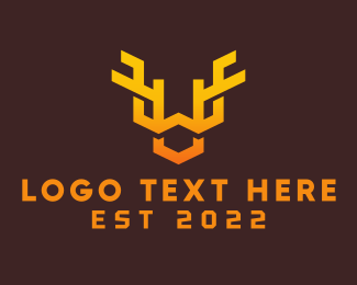 Animal - Orange Animal Antlers logo design