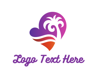 Valentines Day - Heart Beach logo design