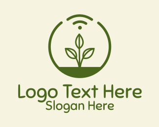 Cultivation - Plant Wifi Signal Badge logo design