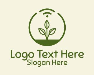Crops Field - Plant Wifi Signal Badge logo design