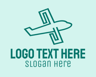 Green Plane - Green Airplane Travel logo design
