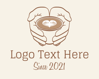 Coffee Date - Heart Cappuccino Drink logo design