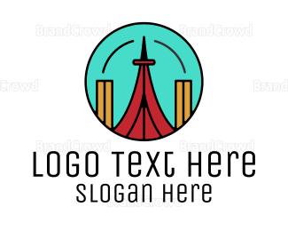 Modern - Modern Red Tower logo design