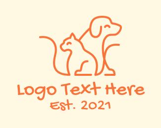 Pets - Orange Cat Dog Pet  logo design