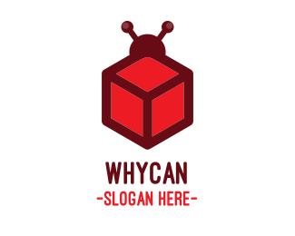 Bug Red Cube Bug logo design
