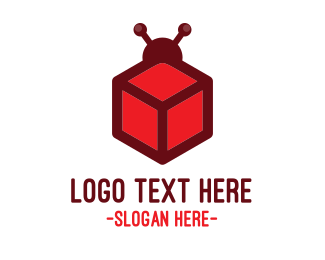 Red Square - Red Cube Bug logo design