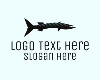 Fisherman - Black Barracuda  logo design