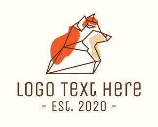 Wolf Head - Wild Fox Monoline logo design
