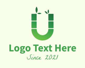 Bamboo - Green Bamboo Letter U logo design