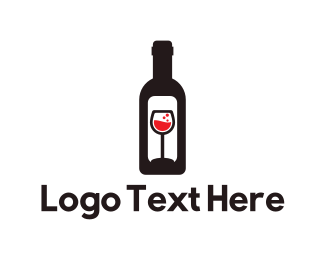Red Wine - Wine Bottle Label logo design