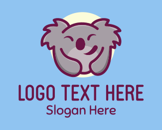 Zoo Animal - Happy Koala Bear logo design