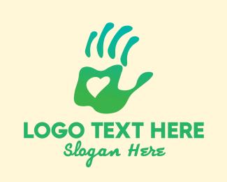 Save The Earth - Handprint Heart  logo design