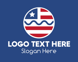 National Flag - Circle American Flag  logo design