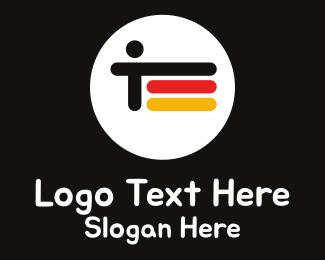 German - Abstract German Flag & Person logo design