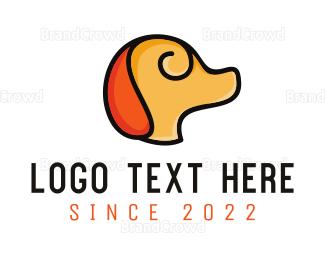 Breeder - Minimalist Yellow Dog logo design