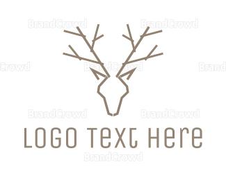 Reindeer - Minimalist Deer Antlers logo design