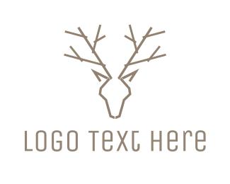 Hunting - Minimalist Deer Antlers logo design