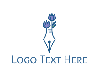 Fountain - Floral Pen logo design