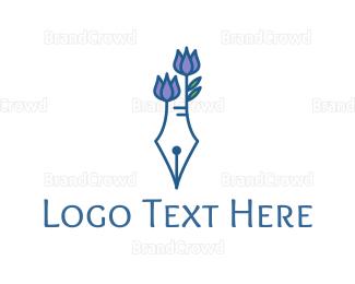 Biography - Floral Pen logo design
