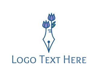 Pen - Floral Pen logo design