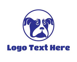 Boston Terrier - Blue Dog logo design