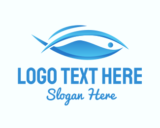 Blue 3D Fish  Logo