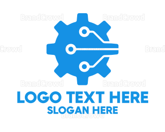 Manufacture - Electronic Blue Gears logo design